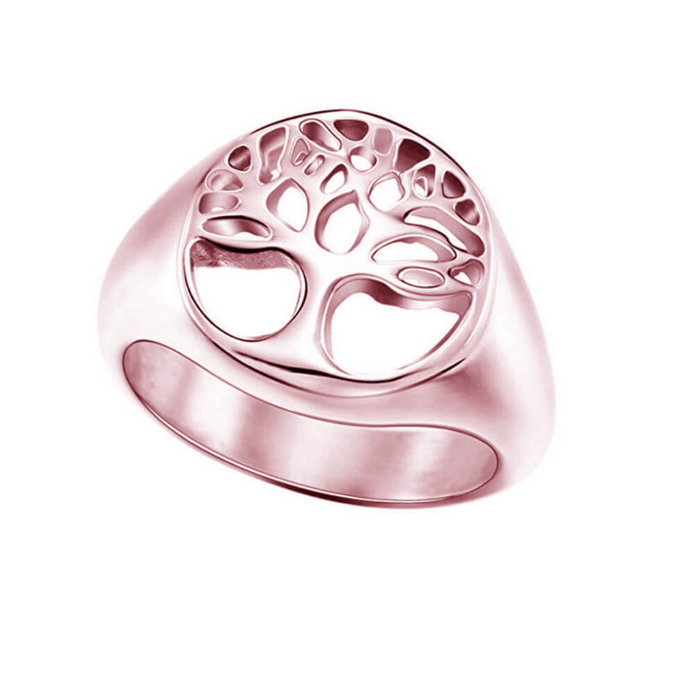 Rose Gold Color Tree Of Life Ring
