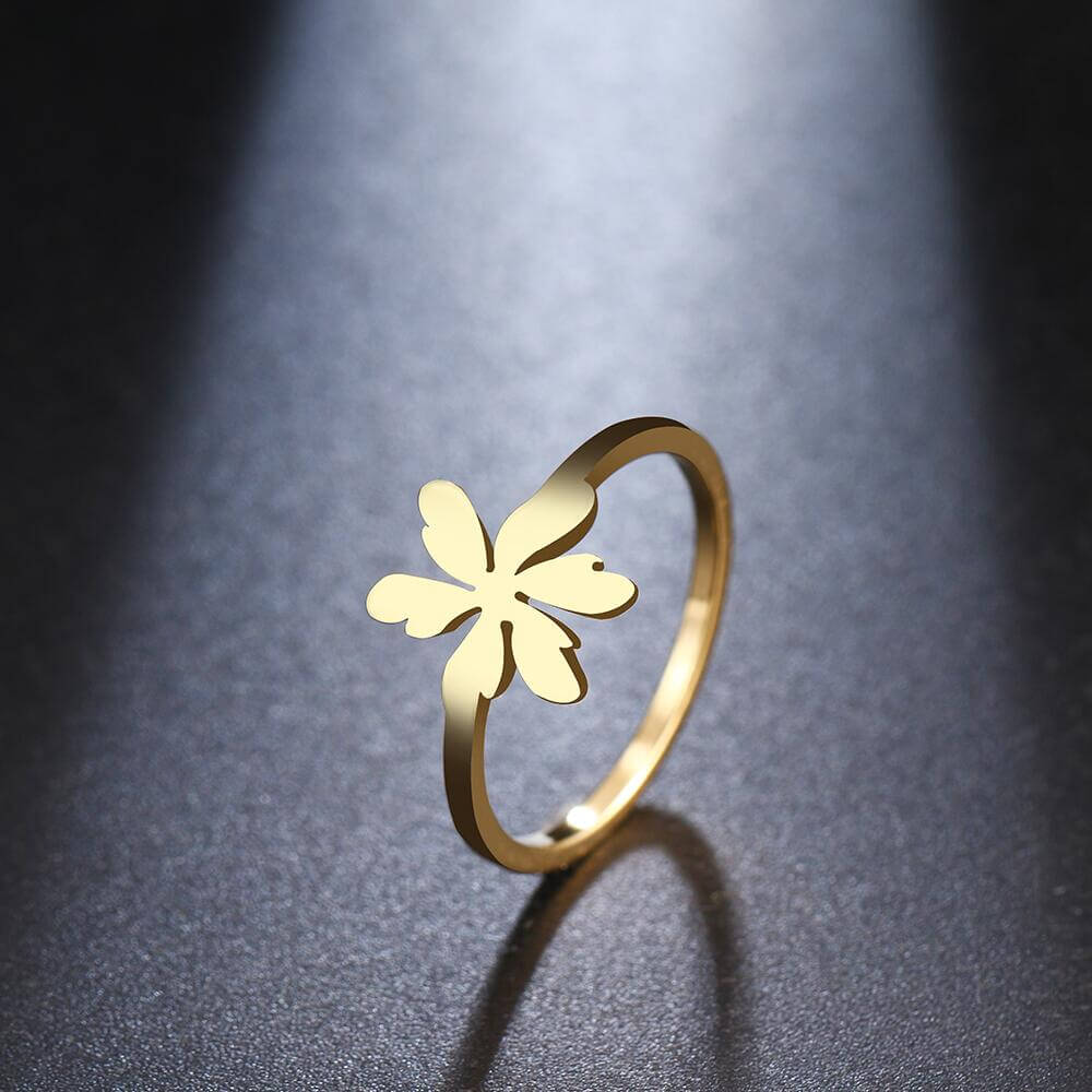 Gold Color Flowers Leaves Ring