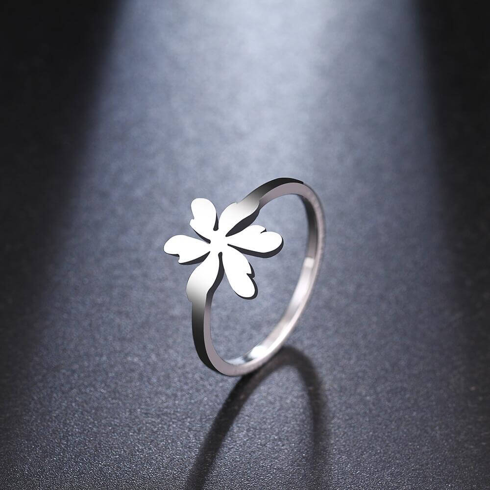Silver Color Flowers Leaves Ring