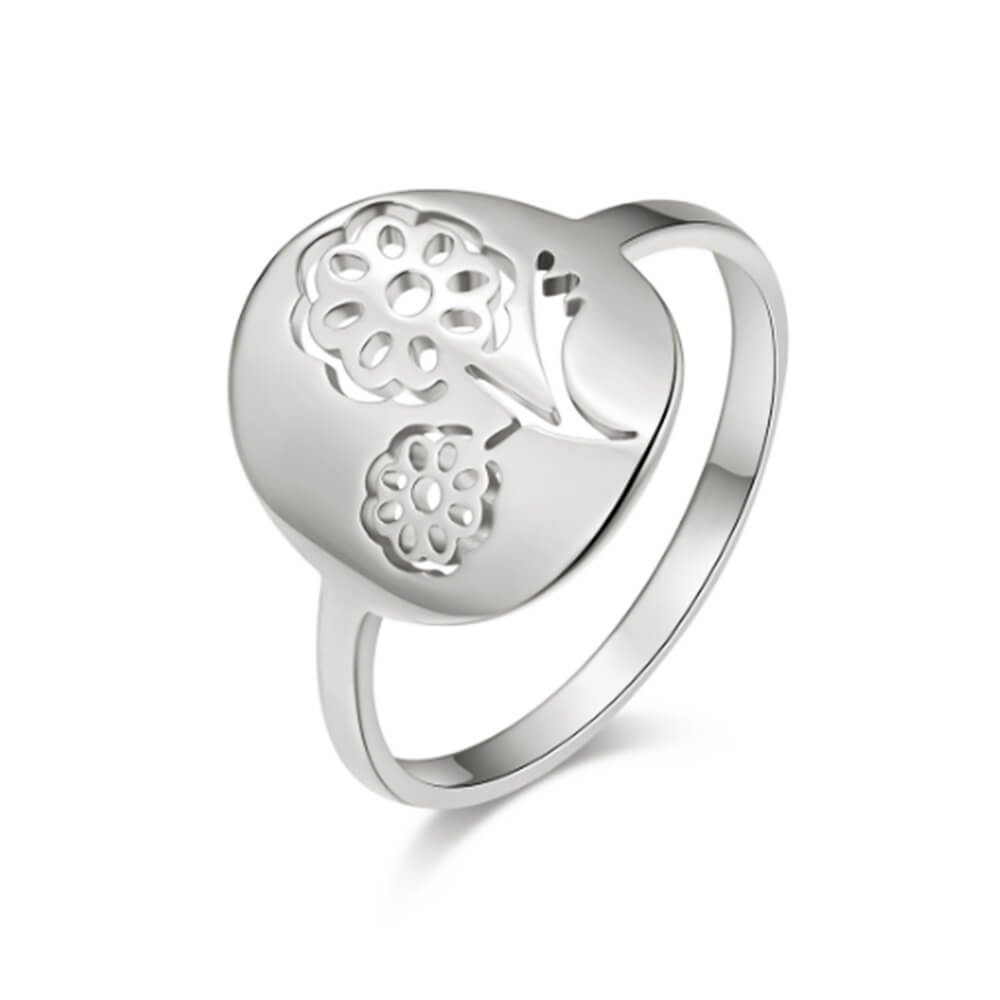 Silver Color Flowers Shape Ring
