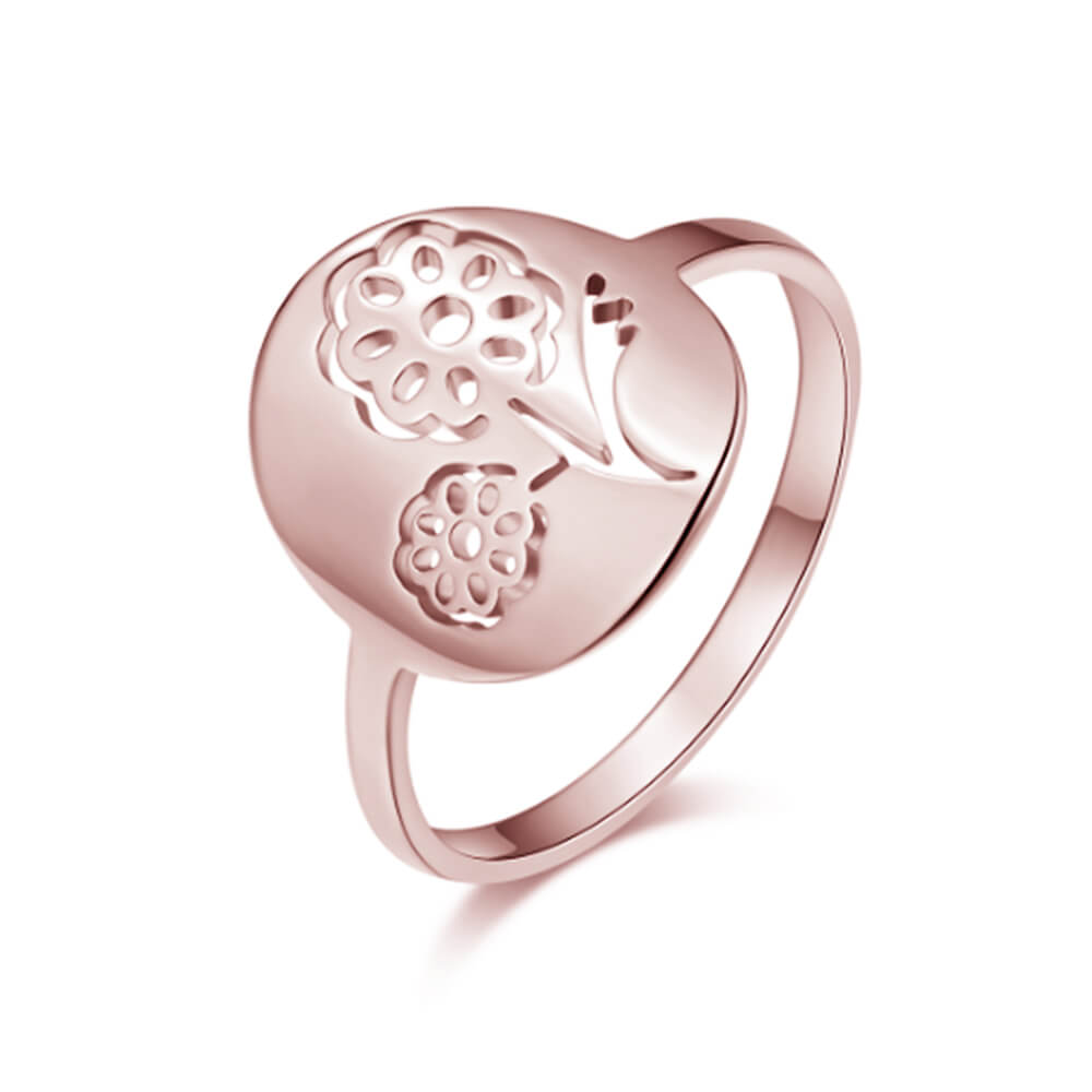 Rose Gold Plated Flowers Shape Ring