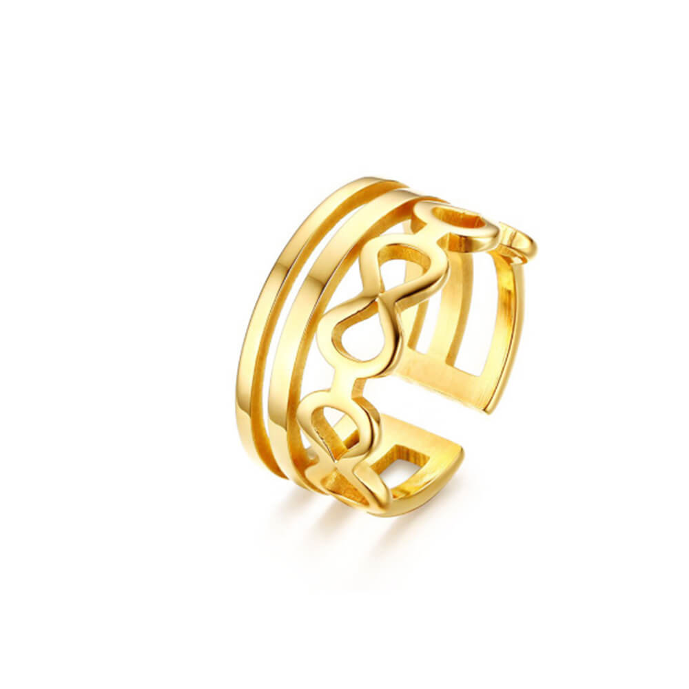 Gold Plated Hearts Infinity Open Ring