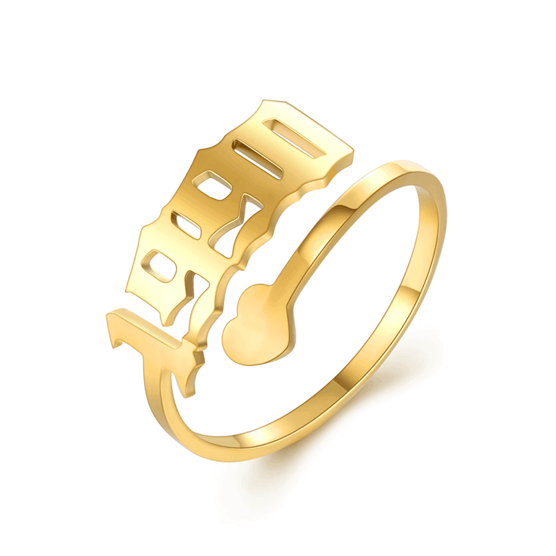 Gold Plated Number Birthday Year Heart Ring
