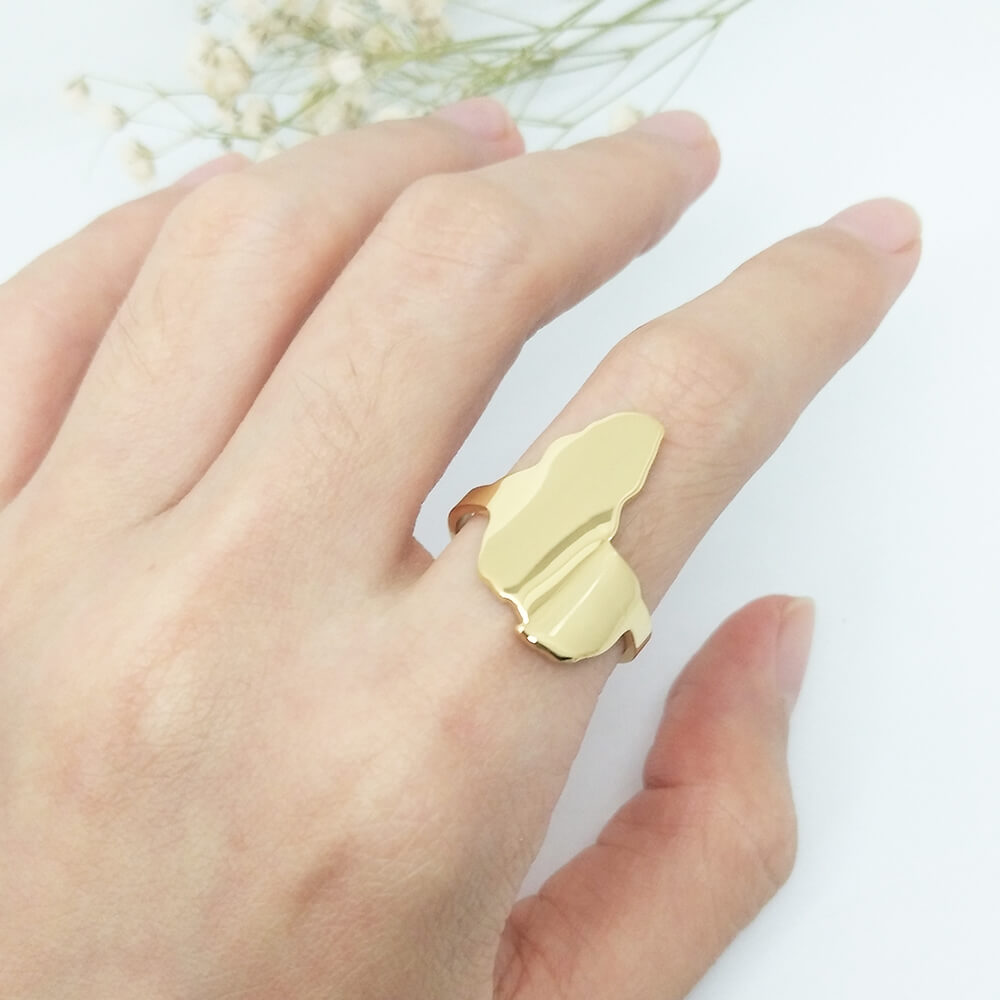 Women Gold Plated Africa Map Ring
