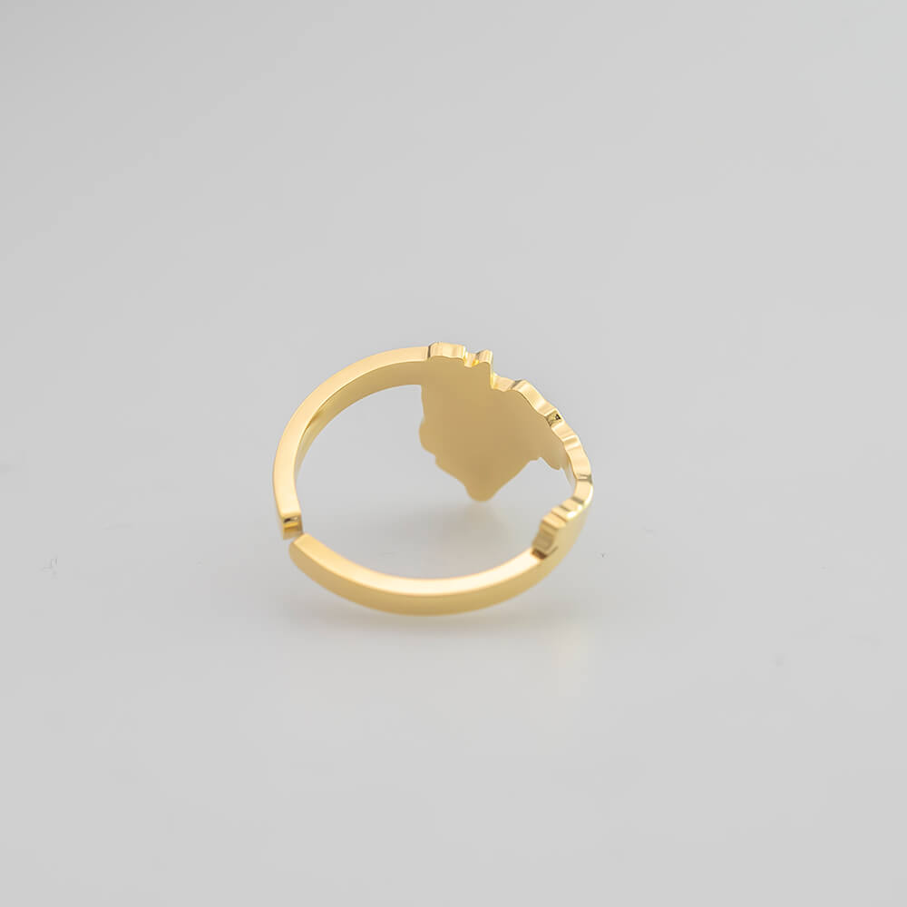 Gold Plated Eritrea Map Ring
