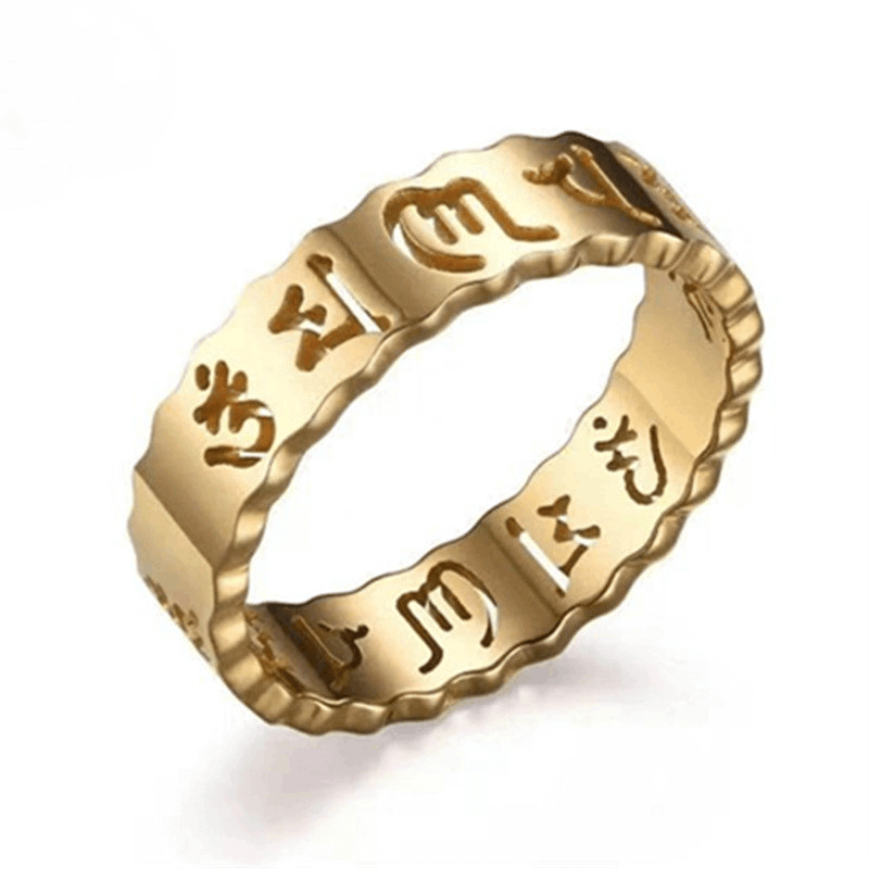 Gold Plated Six True Syllable Mantra Ring