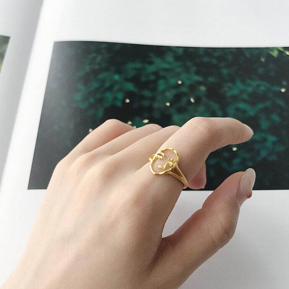 Human Face Gold Plated Ring