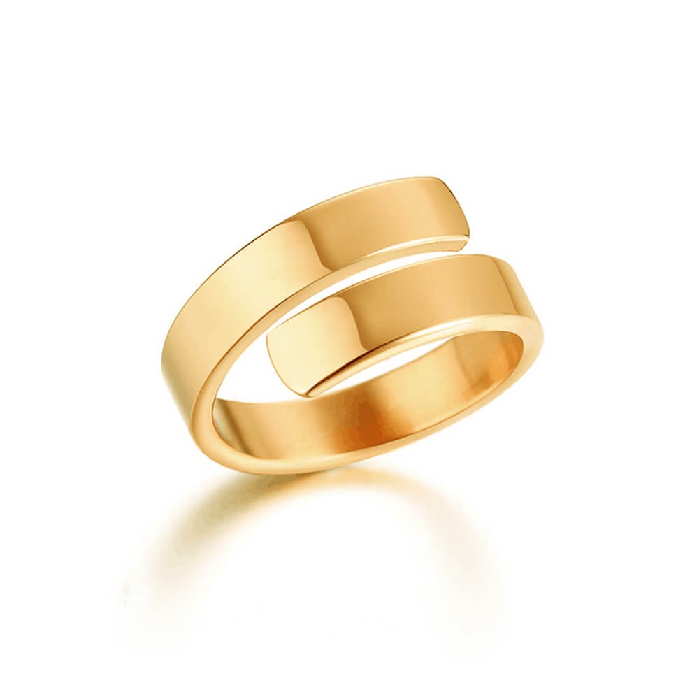 Gold Plated Engraving Letter Adjustable Ring