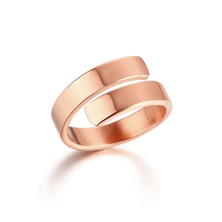Rose Gold Plated Engraving Letter Ring