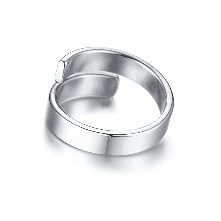 Silver Color Engraving Letter Adjustable Ring