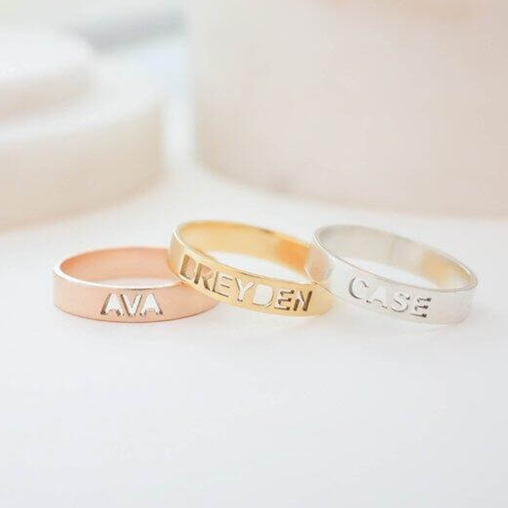 Hollow Letter Rings