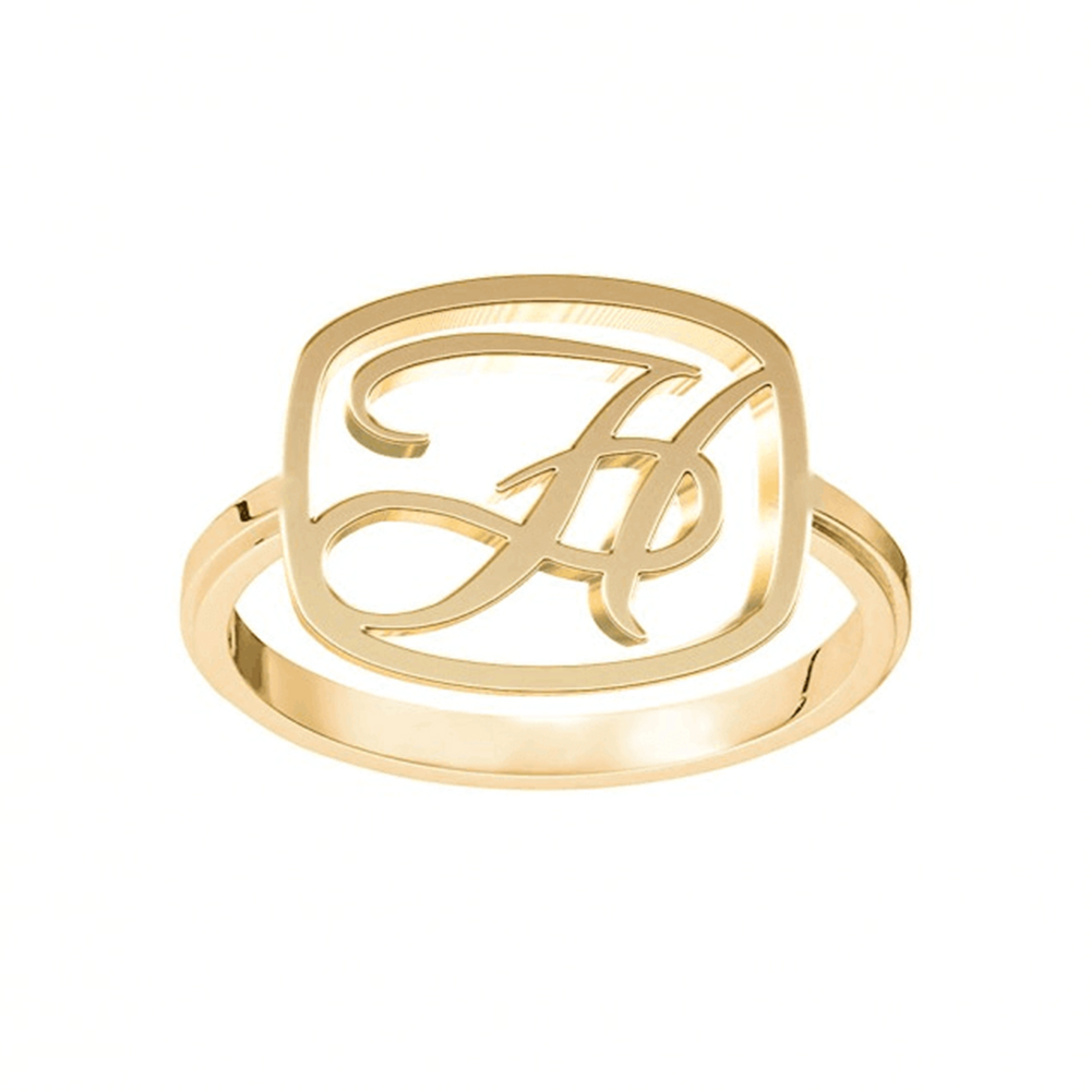 Gold Plated Letter Initials Ring