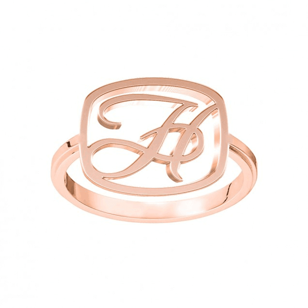 Rose Gold Plated Letter Initials Ring