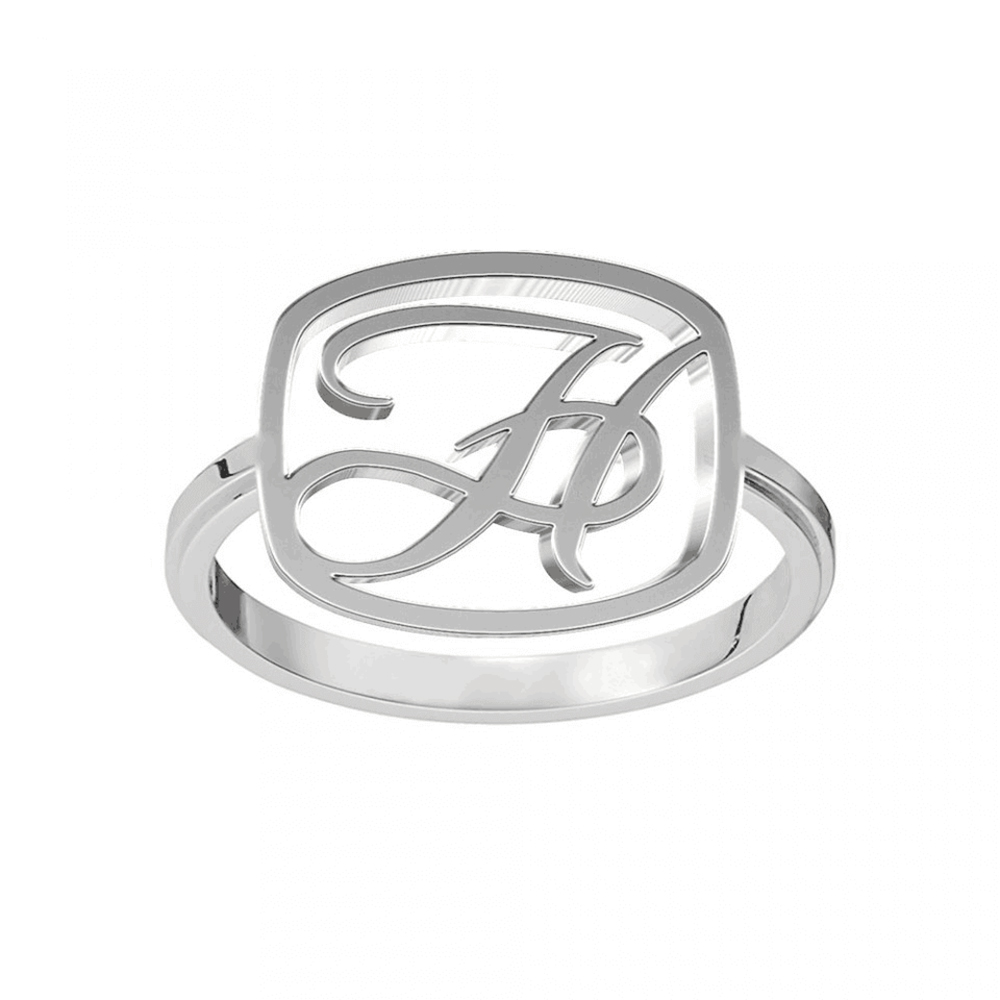 Silver Color Letter Initials Ring