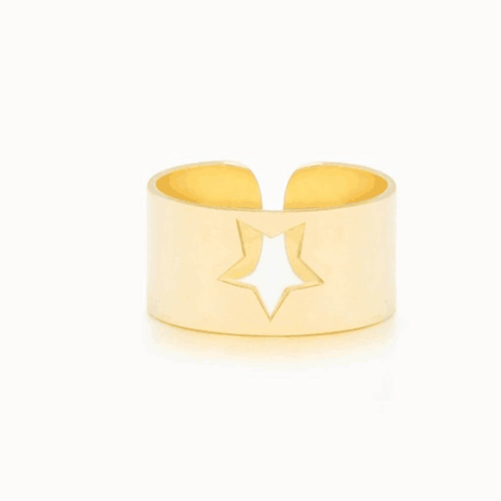 Gold Color Hollow Star Ring