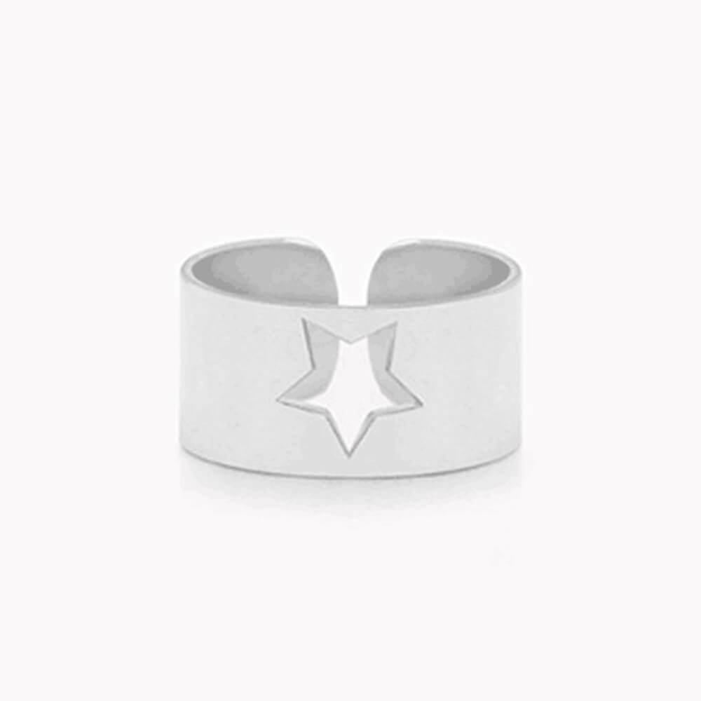 Silver Color Hollow Star Ring
