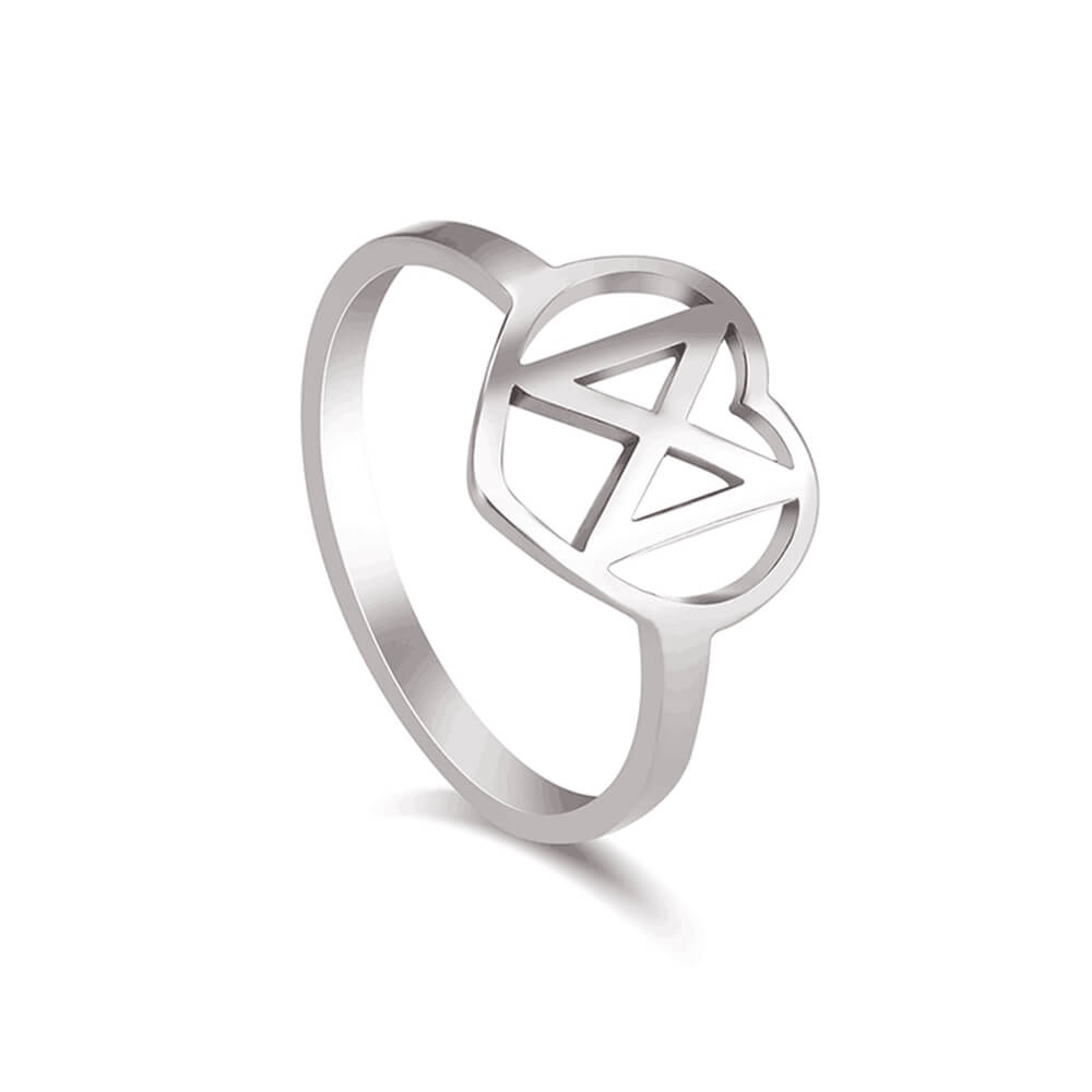 Silver Color Hollow Heart Ring