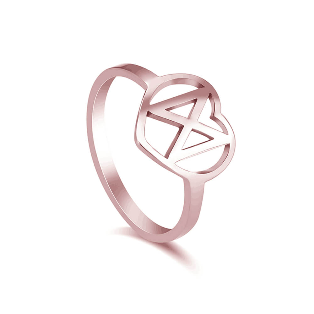 Rose Gold Plated Hollow Heart Ring