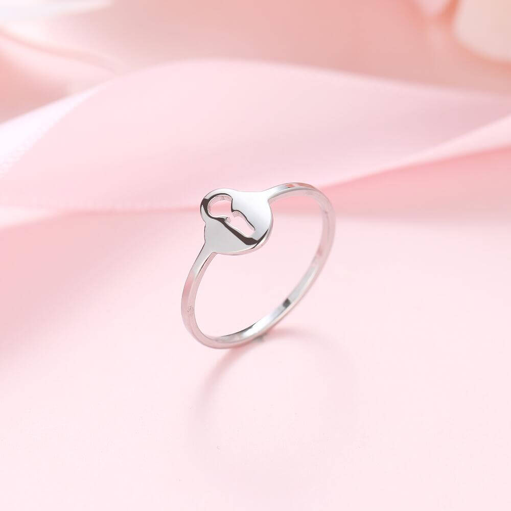 Silver Color Love Lock Ring