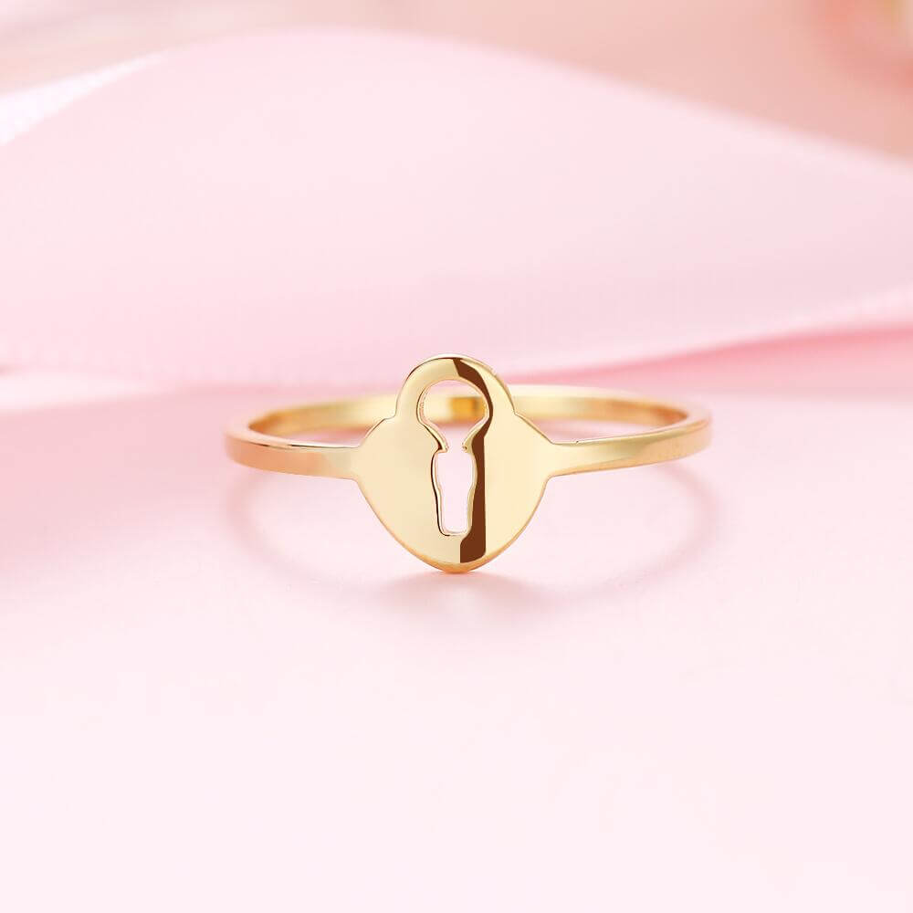 Gold Plated Love Lock Ring