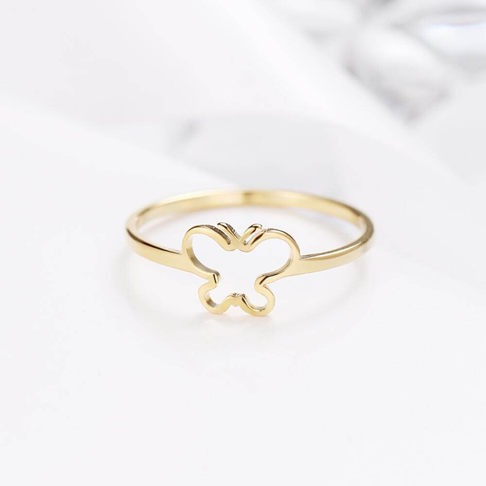 Gold Plated Butterfly Shape Ring