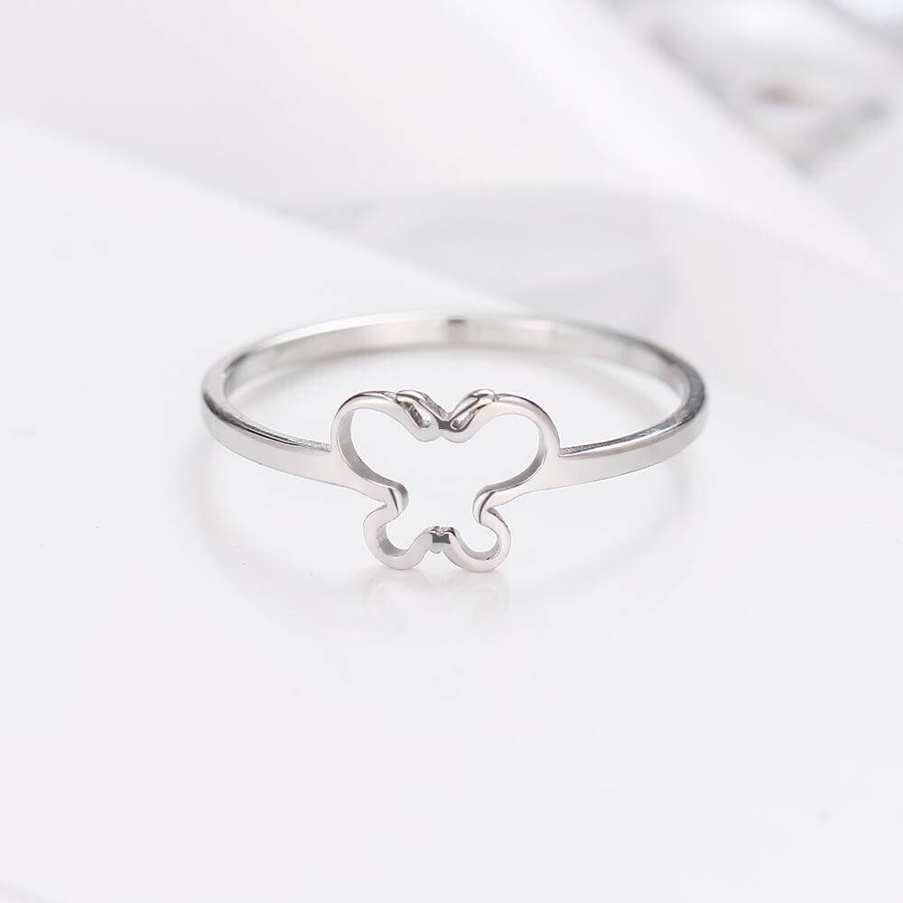 Silver Color Butterfly Shape Ring