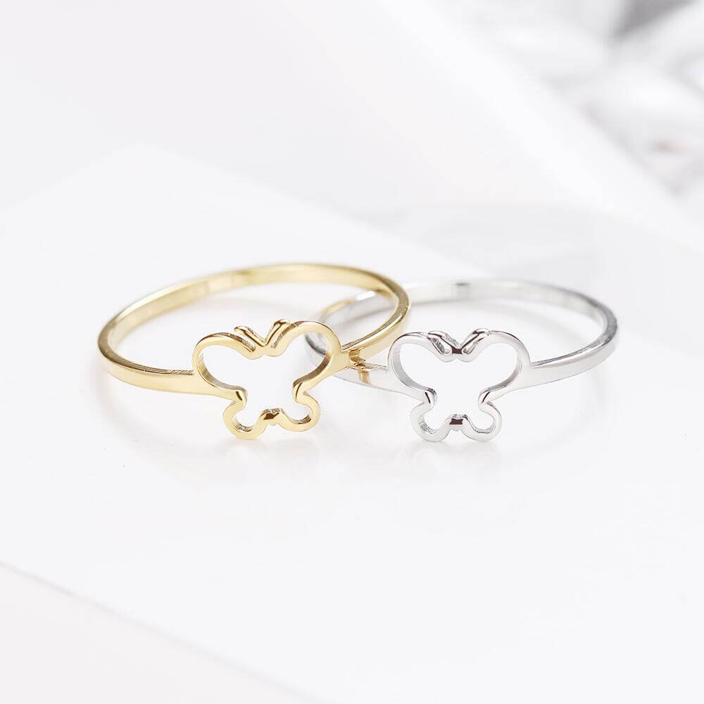 Gold Color And Silver Color Butterfly Shape Ring