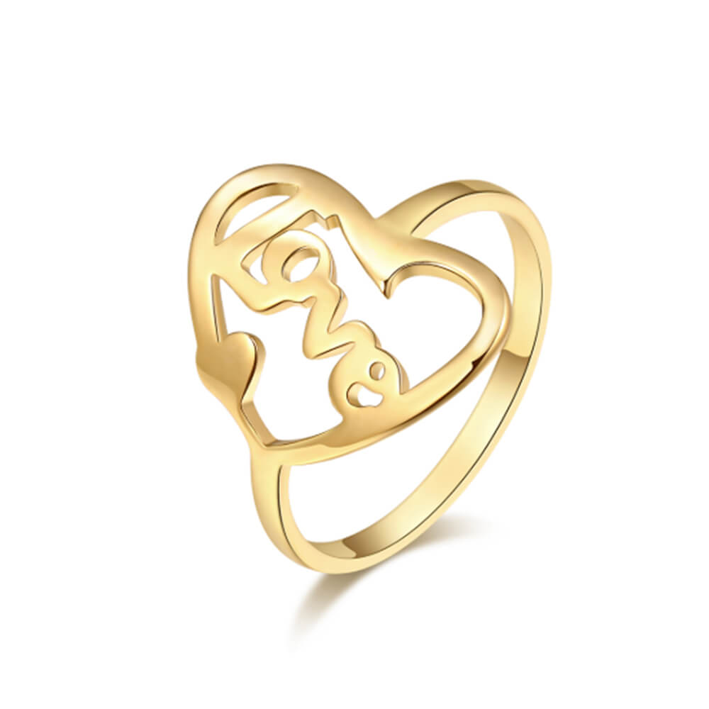 Gold Plated Heart-shaped Letter Ring