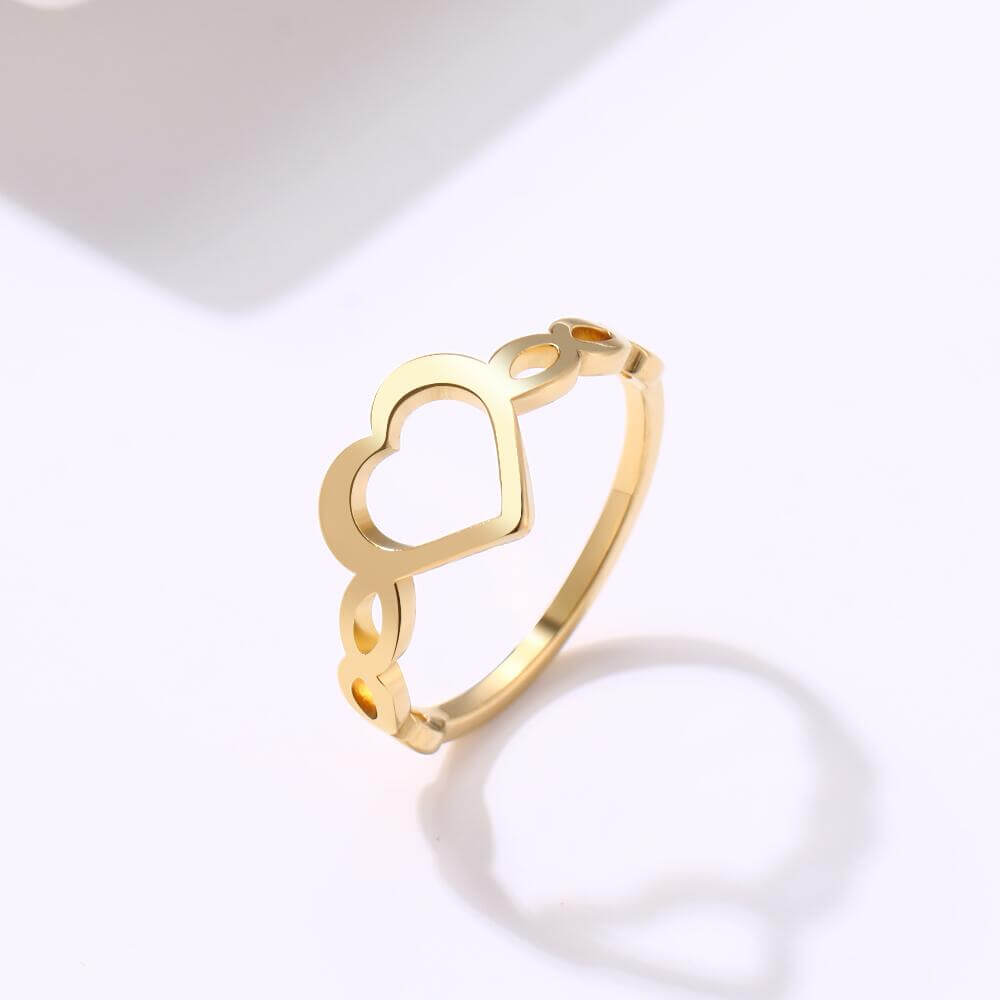 Gold Plated Hollow Heart Ring