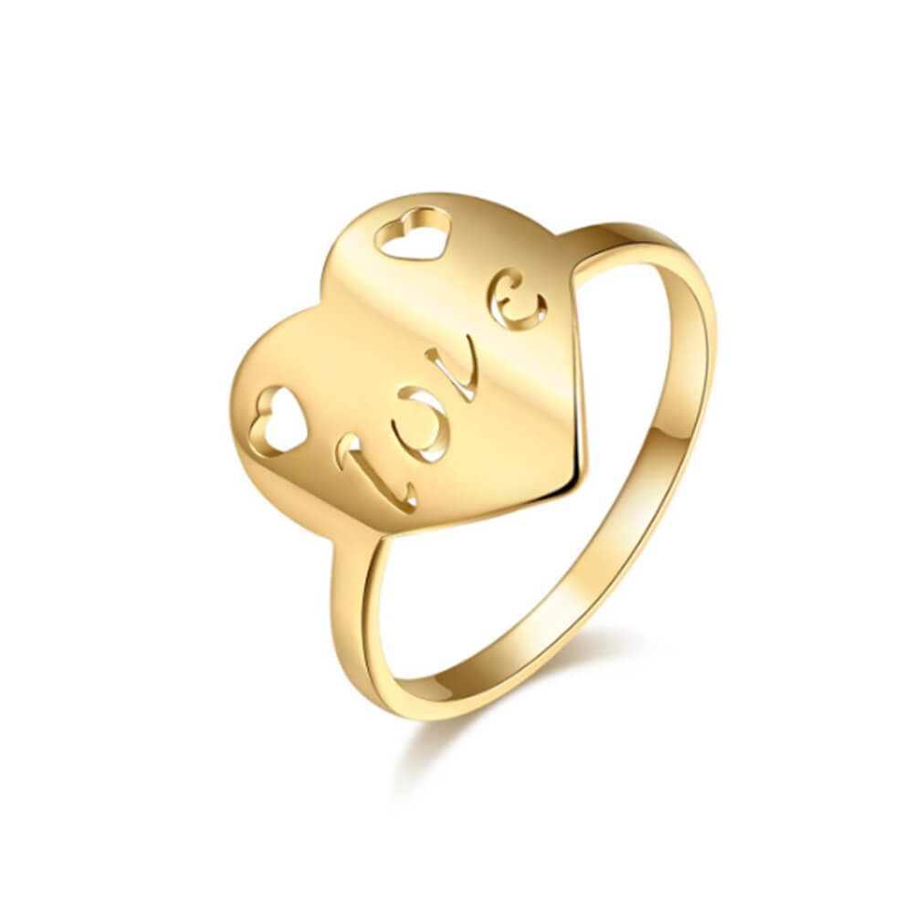Gold Plated Heart Letter Ring