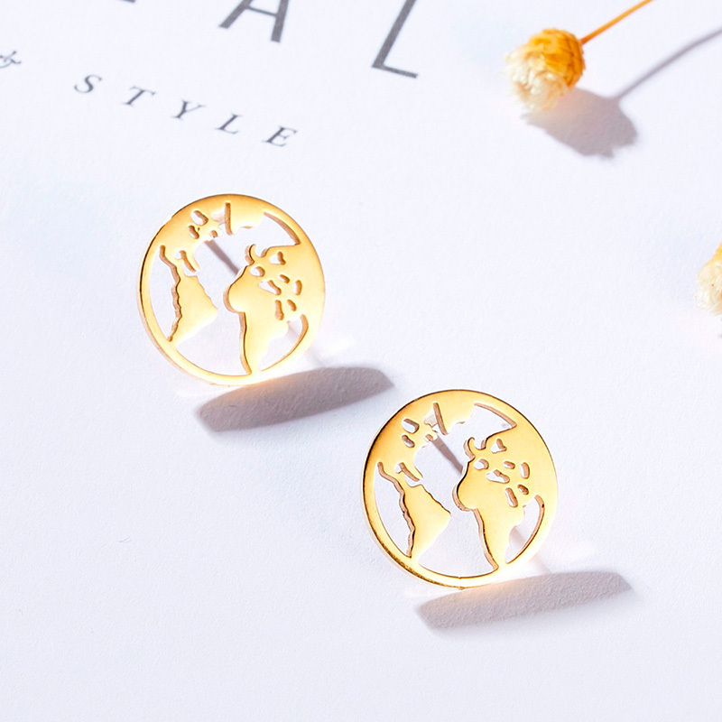 world map earrings.
