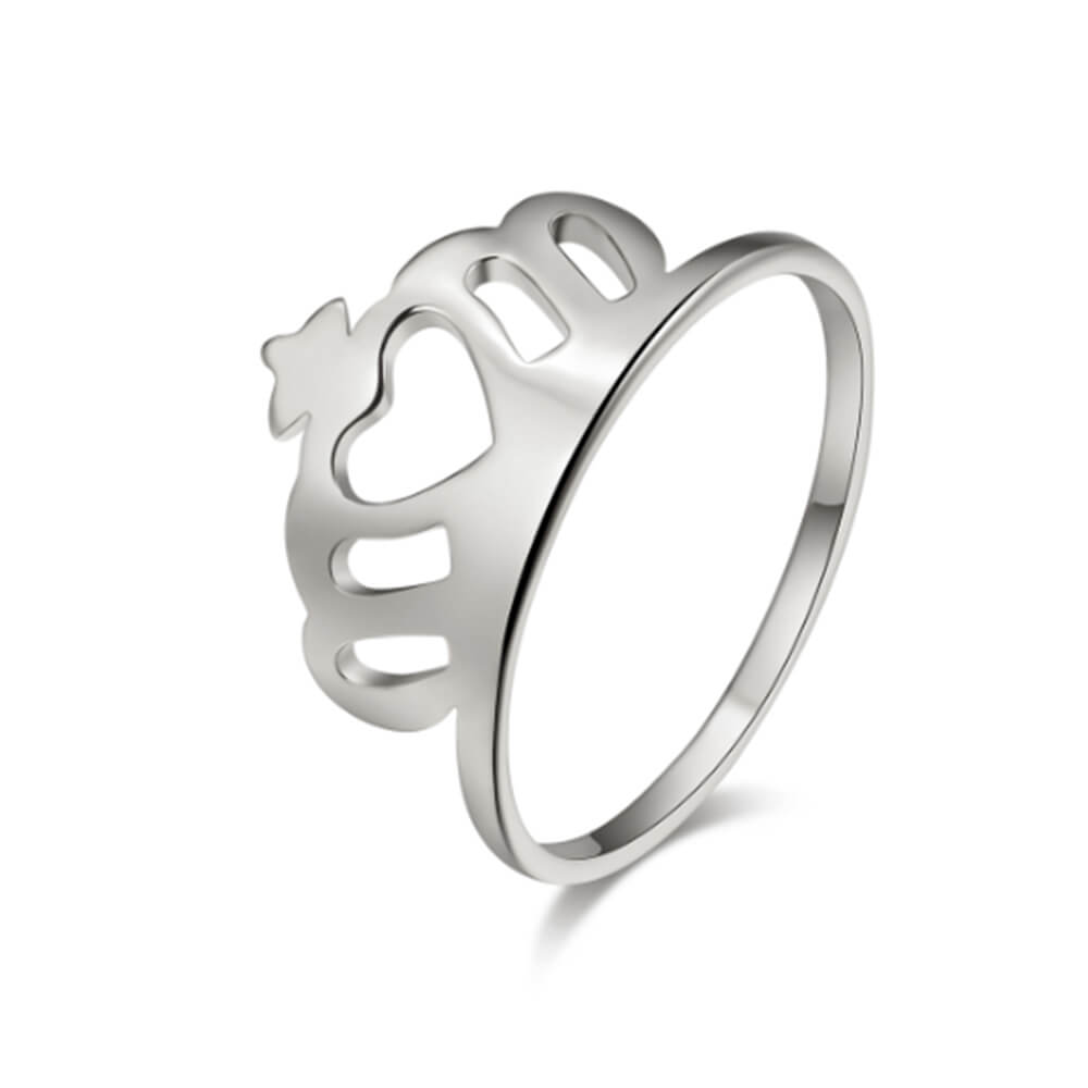 Silver Color Crown Ring