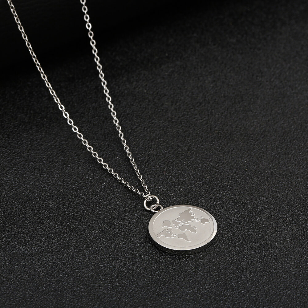This is engraved world map necklace.