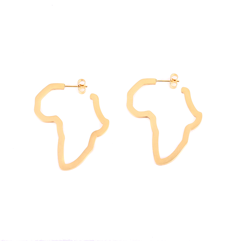 African Map Stud Earring