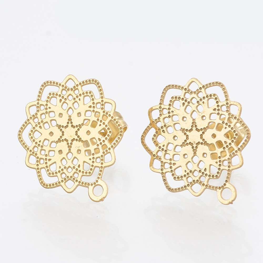 This is a pair of openwork stud earrings.
