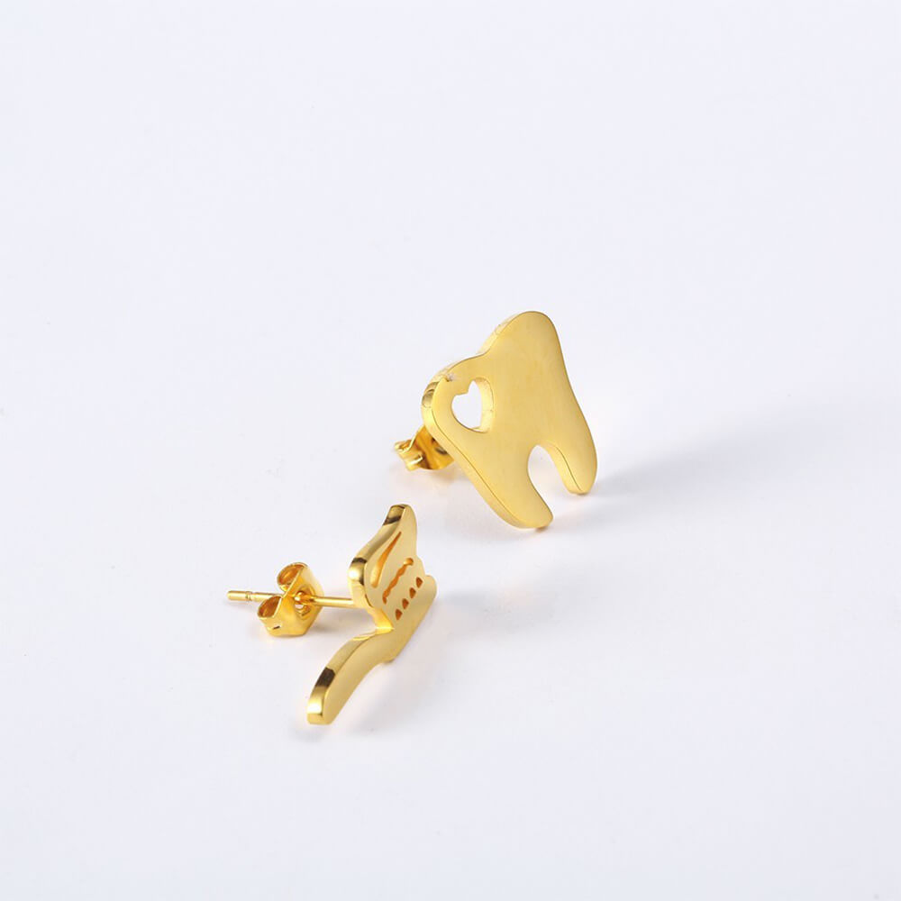 This is a pair of teeth stud earrings.