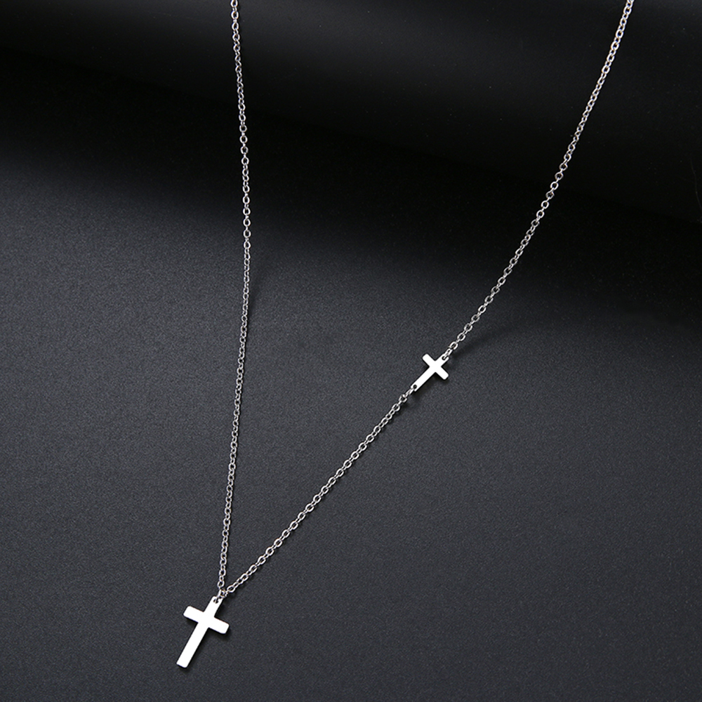 Stainless Steel Shiny Cross Pendant Necklace.