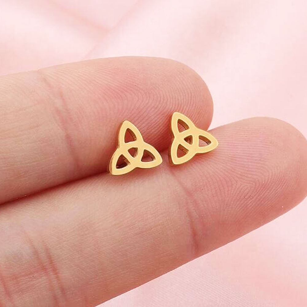Gold Plated Hollow Flowers Stud Earrings