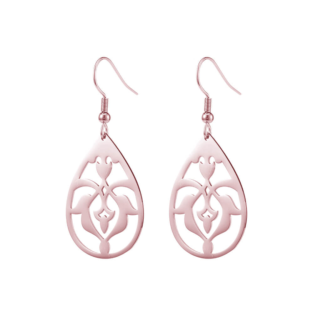 Rose Gold Plated Disc Drop Earing