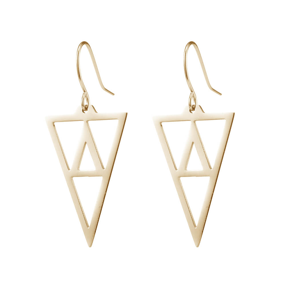 Gold Plated Triangle Shaped Dangle Hoop Earrings