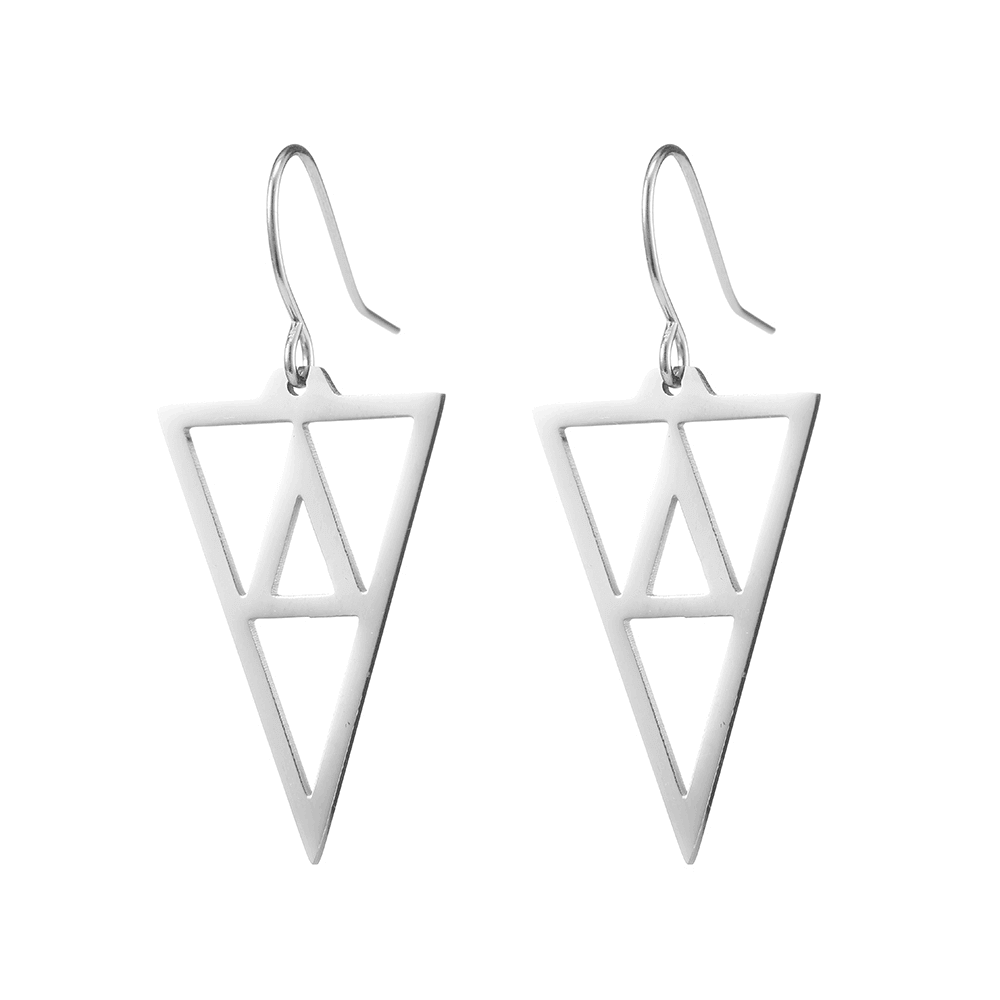 Silver Color Triangle Shaped Dangle Hoop Earrings