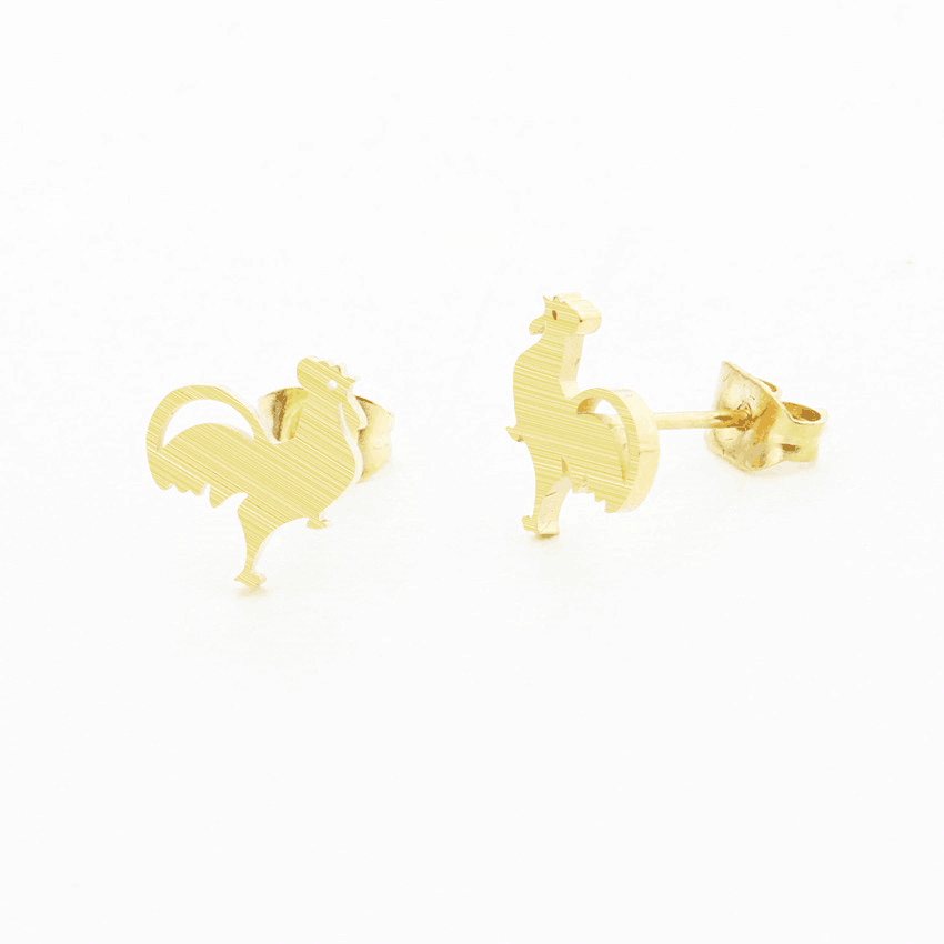 Gold Plated Animal Cock Stud Earring