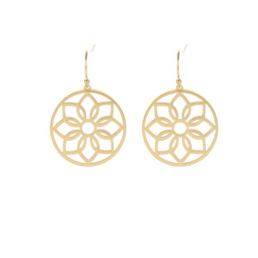Gold Color Flower Drop Earring