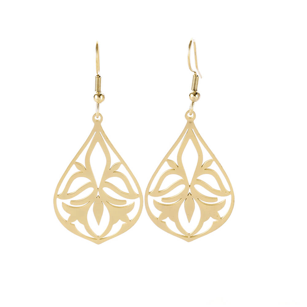 Gold Color Hollow Flower Dangle Earring