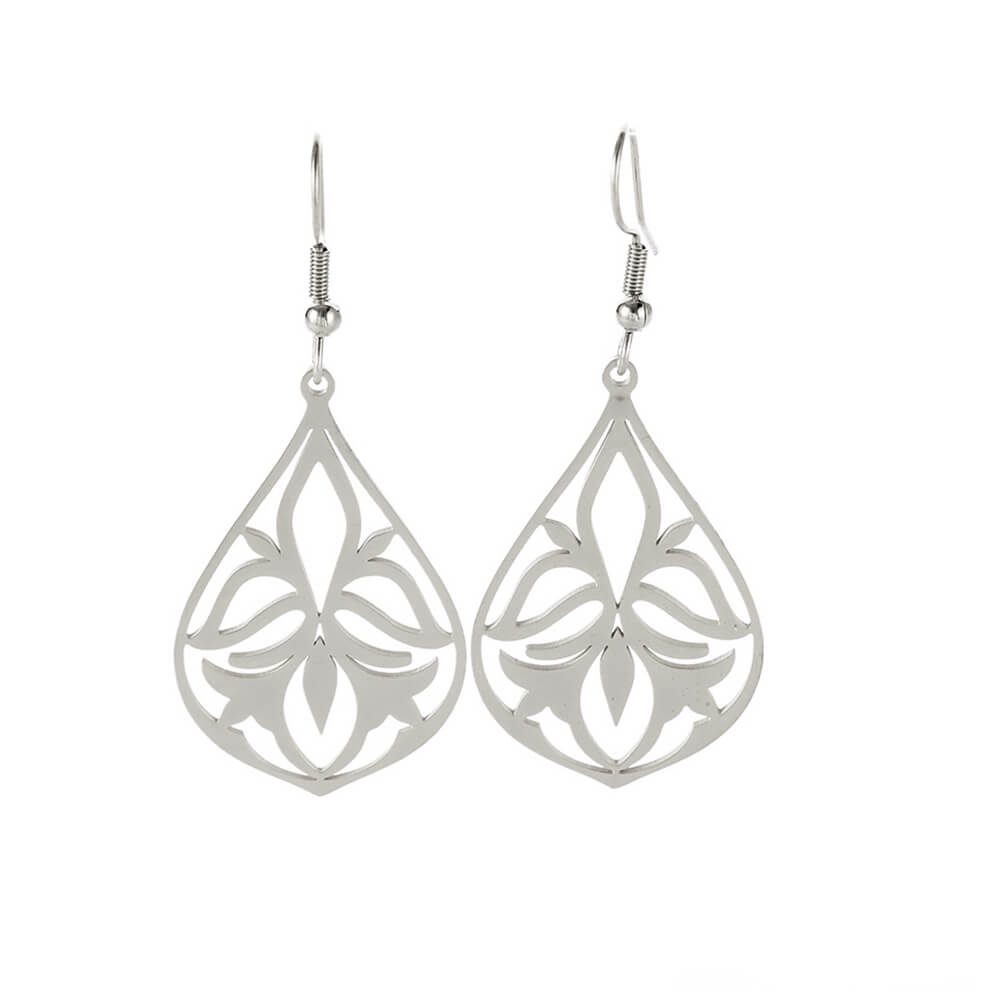 Silver Color Hollow Flower Dangle Earring