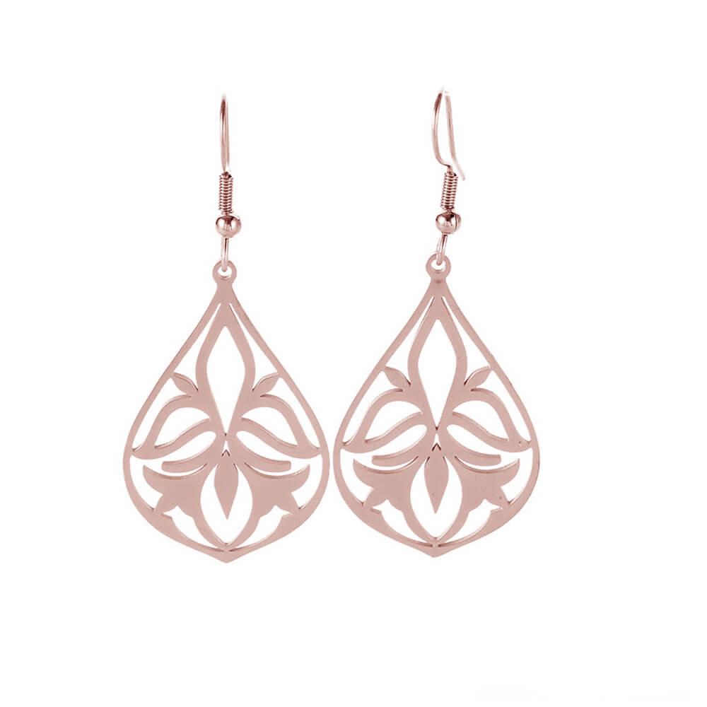 Rose Gold Color Hollow Flower Dangle Earring