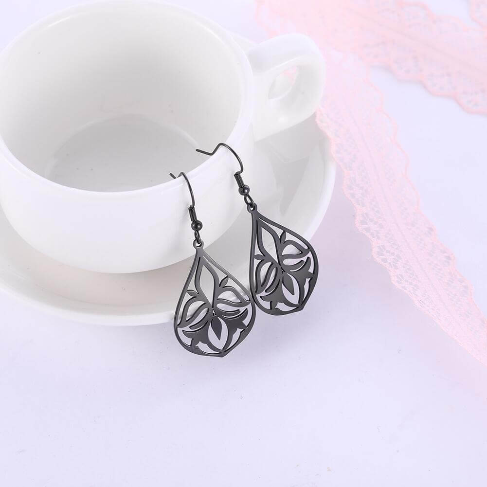 Black Color Hollow Flower Dangle Earring