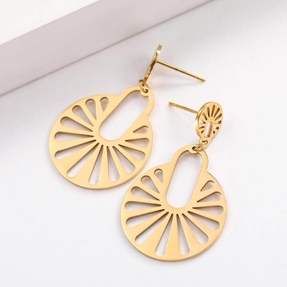 Gold Color Geometric Dangle Drop Earrings
