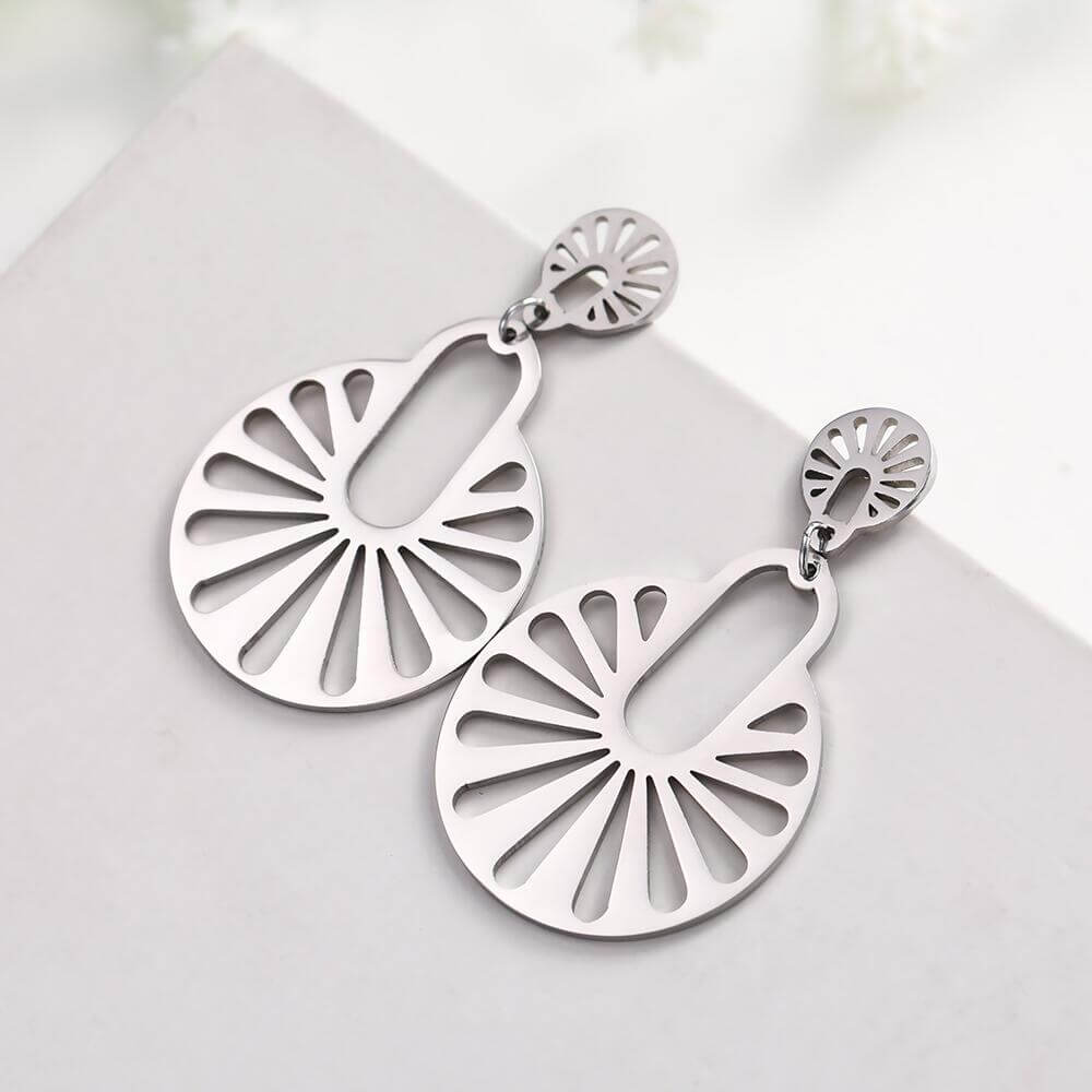 Stainless Steel Geometric Dangle Drop Earrings