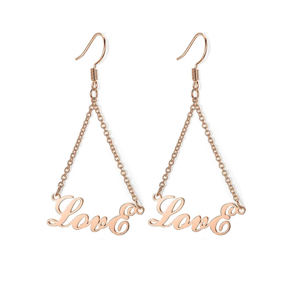 Rose Gold Color Name Drop Earrings